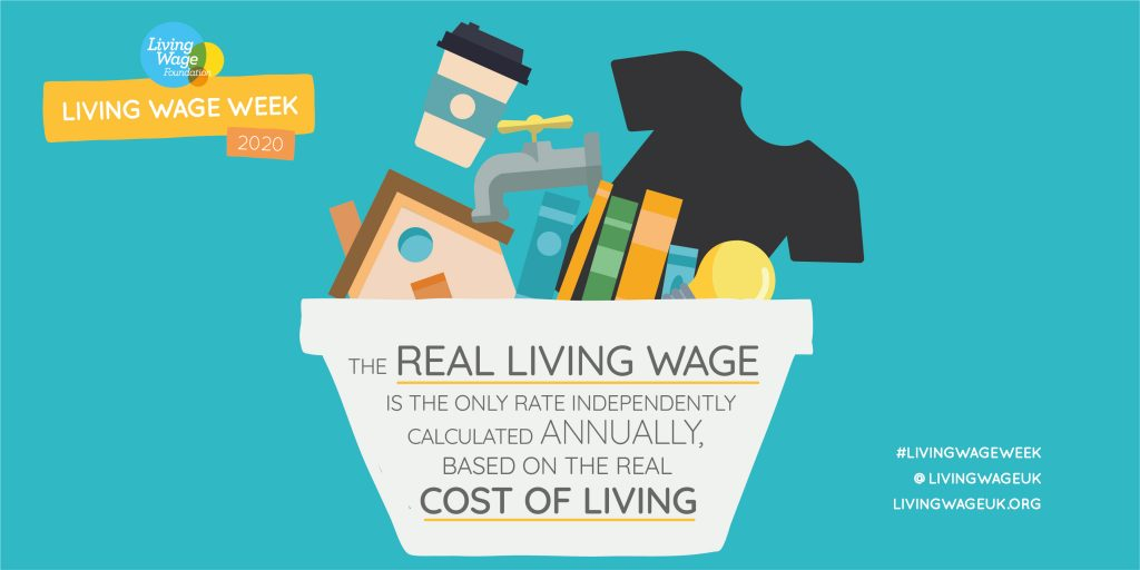 Image reads: The real living wage is the only rate independently calculated annually, based on the real cost of living
